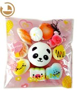 Wholesale new squishies - 10pcs Set Random Kawaii Squishies Soft Panda Bread Cake Buns Phone Straps New Best Wholesale Price New Kids Love