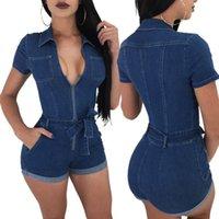 39e7d07e2e4 Women Short Sleeve Jeans Playsuits Turn Down Collar Sexy Deep V Neck Zipper  Front Shorts Jumpsuits Belt Summer Rompers
