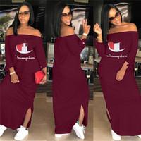 plus größe lange winter röcke großhandel-Frauen Meister Brief Kleid Herbst Schulter Aus Split Lange Hoodie Kleider Marke Mode Langarm Rock Plus Größe Freizeitkleidung