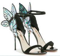 ultra stiletto fersen sandalen großhandel-Heißer Verkauf Sophia Webster Cleo Sandalen aus echtem Leder Pumps Schmetterling Ultra High Heel Sandaletten Frauen Sexy Stiletto Schuhe Größe 35-40