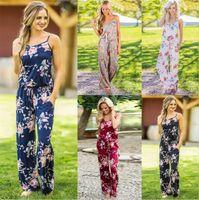 Women summer Floral Print Romper Jumpsuit Sleeveless Beach Playsuit Boho Jumpsuits Long Pants M253