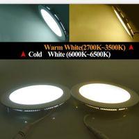 kısılabilir led paneller toptan satış-Kısılabilir 9W / 12W / 15W / 18W / 21W Sıva Altı Gömme Led Lamba Lamba Sıcak / Doğal / Soğuk Beyaz Süper-İnce Led Panel Işıklar Yuvarlak / Kare