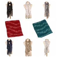 ea8d374e9 Wholesale chiffon scarf resale online - 8 colors Female Fashion Musical  Note Scarf big kids White