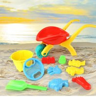 tools play sand Australia - Wholesale- 12PCS Kids Sandy beach Toy Set 13PCs Dredging tool Beach Bucket Baby playing with sand water toys