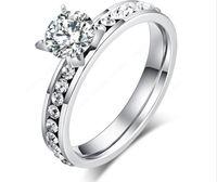 circulo de titanio al por mayor-2018 anillos de boda de moda de titanio anillos de acero inoxidable de moda clásica para las mujeres Circle CZ joyería de lujo