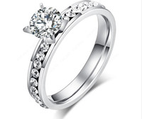 Wholesale cz diamond wedding rings for sale - 2018 Fashion Wedding Rings Titanium Stainless Steel Rings Classic Trendy For Women Circle CZ Luxury Jewelry