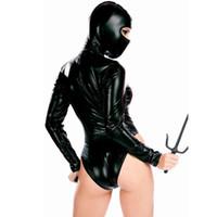 сексуальный черный латекс оптовых-Women Halloween Cosplay Leather Costume Ninja Hooded Leotard Jumpsuits Black Latex Bodysuit Nightclub Bar DS Sexy Clothing