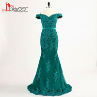 Wholesale Teal Mermaid - Teal Green Off The Shoulder Prom Dresses 2018 Modest Robe De Soiree Mermaid Style Beading Tulle Formal Evening Gowns Party Dress