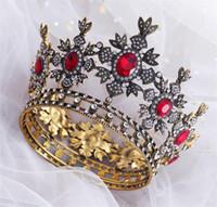 ingrosso blu corona tiaras-Di lusso Tiara alto corona rotonda completa da sposa da sposa con strass di cristallo, accessori per capelli, copricapo, corona di diamanti rossi blu, corona dello spettacolo