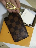 Wholesale photo gifts canvas - 2018 KEY POUCH Damier canvas holds high quality famous classical designer women key holder coin purse small leer with gift box bag