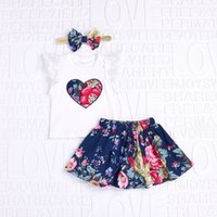 Wholesale Girls Heart Skirt - 2018 Baby girl clothing Ins Outfits Retro floral Romper with Heart Short lace sleeve + Skirt with Bow Headband 3pcs set Summer New style