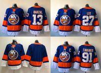 Wholesale Flash Style - 2018 New Style AD Brand New York Islanders Hockey 13 Mathew Barzal 27 Anders Lee Jerseys 22 Mike Bossy #91 John Tavares Jersey