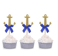 Wholesale engagement party cupcake toppers for sale - 20pcs Golden Anchor Cake Cupcake Toppers Picks for Wedding Engagement Party Decorations