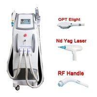 Wholesale hair laser light - 3 in 1 Multifunctional OPT laser E-Light ND YAG Laser hair removal skin rejuvenation pigment removal laser tattoo removal