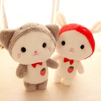 Wholesale toy goats resale online - Cute Strawberry Kitten Stuffed Plush Toys Bunny Goat Baby Doll Soft Stuffed Animal Toys Cartoon Figure NNA878