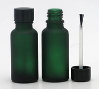 nagel leere 5ml flaschen großhandel-12 teile / los 20 ml Leere frost grün glasflasche Nagellack flasche 2/3 unze ätherisches öl container mit pinsel kappe