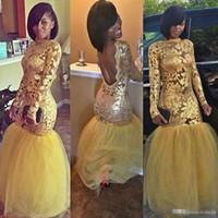ingrosso vestito giallo fishtail-Appliques gialli Mermaid Prom Dresses con maniche lunghe 2018 Sexy nigeriano sudafricano gioiello Backless Fishtail Evening Party Gown