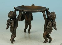 Wholesale asian statues - Superb Asian China Old Bronze Handmade Carved Angel Collect Statue Oil Lamp