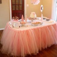 ingrosso forniture tessili-Tessili per la casa calda Wedding Party Tulle Tutu Gonna Tavolo Compleanno Baby Shower Decorazioni da tavola di nozze Fai da te Forniture artigianali