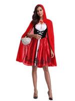 dames portant des chapeaux achat en gros de-Red Hat Dames Fille Cosply Porter Claok + Robes Halloween Party Club Dresses Festival Thème Costume