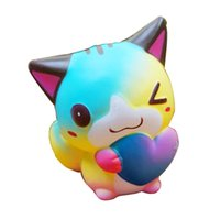 Wholesale Colorful Jumbo Squishy Slow Rising Cute Heart Cat Pendant Squeeze Straps Kids Gift Toy Phone Charm Colletion