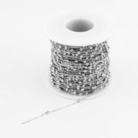 ingrosso catena in acciaio inossidabile-100% in acciaio inox 1.2mm argento collana catena a maglia rolo con sfera spaziale vendere in 5 metri senza prese Catins Factory Outlet