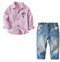 Wholesale umbrella sleeves - 2018 New boys outfits spring children umbrella printed lapel long sleeve plaid cotton shirts+double pocket jeans 2pcs clothing sets R2618