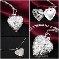 ingrosso cuori d'ottone-Gioielli fai-da-te Ottone vuoto oro placcato argento foto cuore medaglioni oli essenziali medaglioni collana pendente b630
