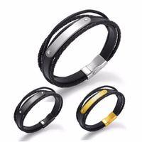 Wholesale men titanium magnetic bracelet for sale - AENINE Three Of Titanium Bent Sheet Bare Face Bracelet With Magnetic Buckle Leather Bracelets For Men OPH1280