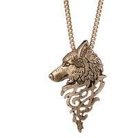 ingrosso le teste della collana del lupo-gioielli firmati punk teste di lupo pendente collana animali pendente lunga collana di sweather per unisex moda calda