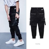 markalı kargo pantolonları toptan satış-Moda Marka Tasarım Kargo Pantolon Erkekler Tayt Vinatge Yüksek Sokak Slim Fit Büyük Cep Pantolon Ile Draped