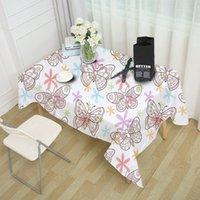 decoraciones de mariposa amarilla al por mayor-Mariposa Mantel Impermeable Cena Paño de mesa Volar Mariposas Decoración Cubierta de tabla Pastoral Lavable