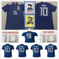 números, futebol, jerseys venda por atacado-Número dos desenhos animados 2018 Copa do Mundo Japão Camisa de Futebol Capitão TSUBASA 10 OLIVER ÁTOMO KAGAWA ENDO 9 HYUGA NAGATOMO KAMAMOTO Camisa de Futebol Personalizado