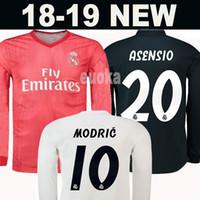 11d0e33c95 ... Manga Comprida em casa Camisola de Futebol 18 19 Real Madrid longe  camisa de futebol MODRIC BALE ASENSIO MARIANO terceira uniformes de Futebol  vermelho