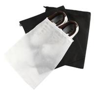 Wholesale 2000Pcs Portable Travel Storage Bag For Shoes Non woven Drawstring Shoes Bags Clothes Underwear Pouch Organizer White Black