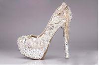 botas de boda zapatos marfil al por mayor-Marfil blanco Rhinestone abalorios 10/12/14 cm pulgadas tacones nupcial diseñador de lujo zapatos de tacón alto zapatos de boda zapatos de mujer botas sandalias