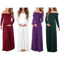 Wholesale Pregnant Women Maxi - Pregnant Long Sleeve Evening Dress Women Off Shoulder Long Maternity Dress Gown Photo Photography Props Maxi Dress 8 Colors OOA4328