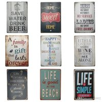Wholesale tin letter signs for sale - Group buy English Letter Poetry Tin Poster Save Water Drink Beer cm Tin Sign Life Is Good At The Beach Iron Painting Top Quality BB