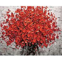 moderne abstrakte acrylmalerei großhandel-Rahmenlose Rote Blume Diy Digitale Malerei Nach Zahlen Acrylfarbe Abstrakte Moderne Wandkunst Leinwand Gemälde Für Wohnkultur