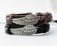 Wholesale Cow Plates - Angel's Wing Bracelet Metal Charm Bracelets Real cow Leather Cuff Bangle For Wrist Cool Jewelry Gifts