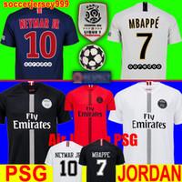 Wholesale Thailand maillots PSG soccer jersey Paris third champions jumpman MBAPPE CAVANI saint germain Survetement football shirt uniforms
