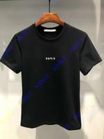 мужские рубашки лучших дизайнеров оптовых-лучшая версия мода дизайнер люксовый бренд летняя одежда футболка для мужчин Париж письмо сломанной печати футболка повседневная tee top t рубашка