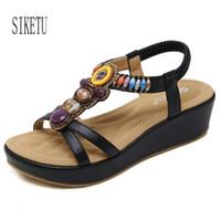 ingrosso sandalo beige bohemien-Sandali gladiatore stile estivo Sandali con zeppa piattaforma donna Sandali infradito beige nero con coppe strass Bohemian