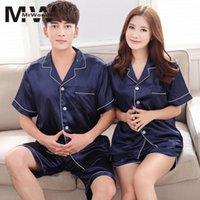 семейные ремни оптовых-mrwonder  Imitation silk Pajamas Sets Sleeveless Spaghei Strap Couple Sleepwear Family Homewear Women Men Lover SAN0