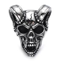 vampir gotik takı toptan satış-WEC Punk Gotik Döküm Evil Lanet Vampir Keçi Kafası Kemik Yüzük Titanyum Paslanmaz Çelik Kafatası Yüzük Erkekler Takı için