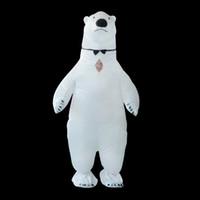 ingrosso festa di compleanno 21-Costume gonfiabile della mascotte del costume dell'orso polare Costumi animale Fantasias Natale adulto Costume di compleanno di Halloween WSJ-21