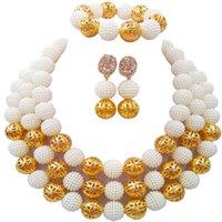 aretes blancos bisuteria al por mayor-Blanco Costume Necklace Earrings Nigerian Beads African Jewelry Set Wedding Jewelry nupcial 3ZZJS16