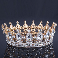 Wholesale Vintage Baroque Queen King Bride Tiara Crown For Women Headdress Prom Bridal Wedding Tiaras and Crowns Hair Jewelry Accessories