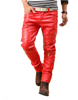 Wholesale punk rock pants zippers - Men Punk Pants Rock Red Studded Leather Motorcycle Hip Hop Hipster Night Club Biker Pants With Zippers Male 28-36