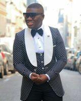 Wholesale black dot pants - Groom Tuxedos Groomsmen One Button Black Dot Shawl Lapel Best Man Suit Wedding Men's Blazer Suits Custom Made (Jacket+Pants+Vest+Tie) K99